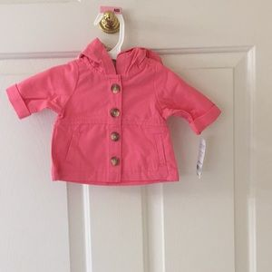 Carter's NB girl hooded jacket button front NWT